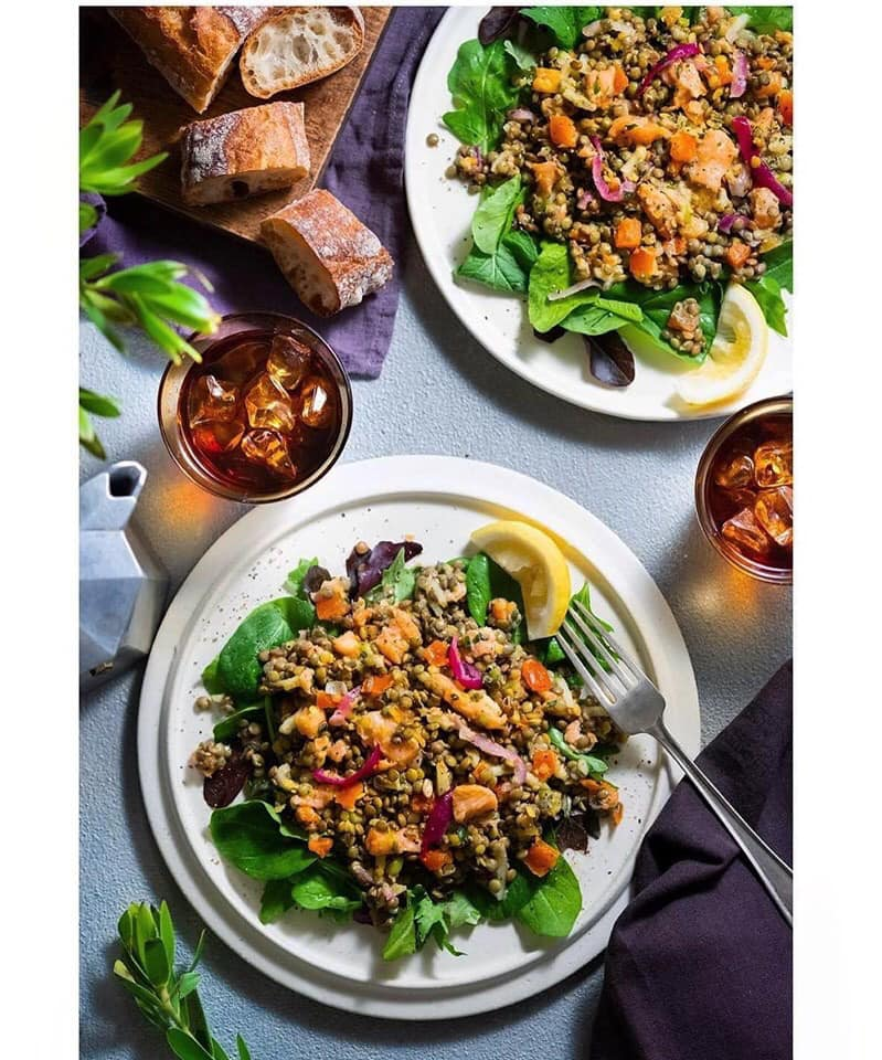 lentil and smoked salmon salad from Picard. It's good for brunch
